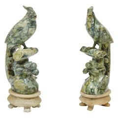 Vintage Carved Mottled Green Stone Birds Pair