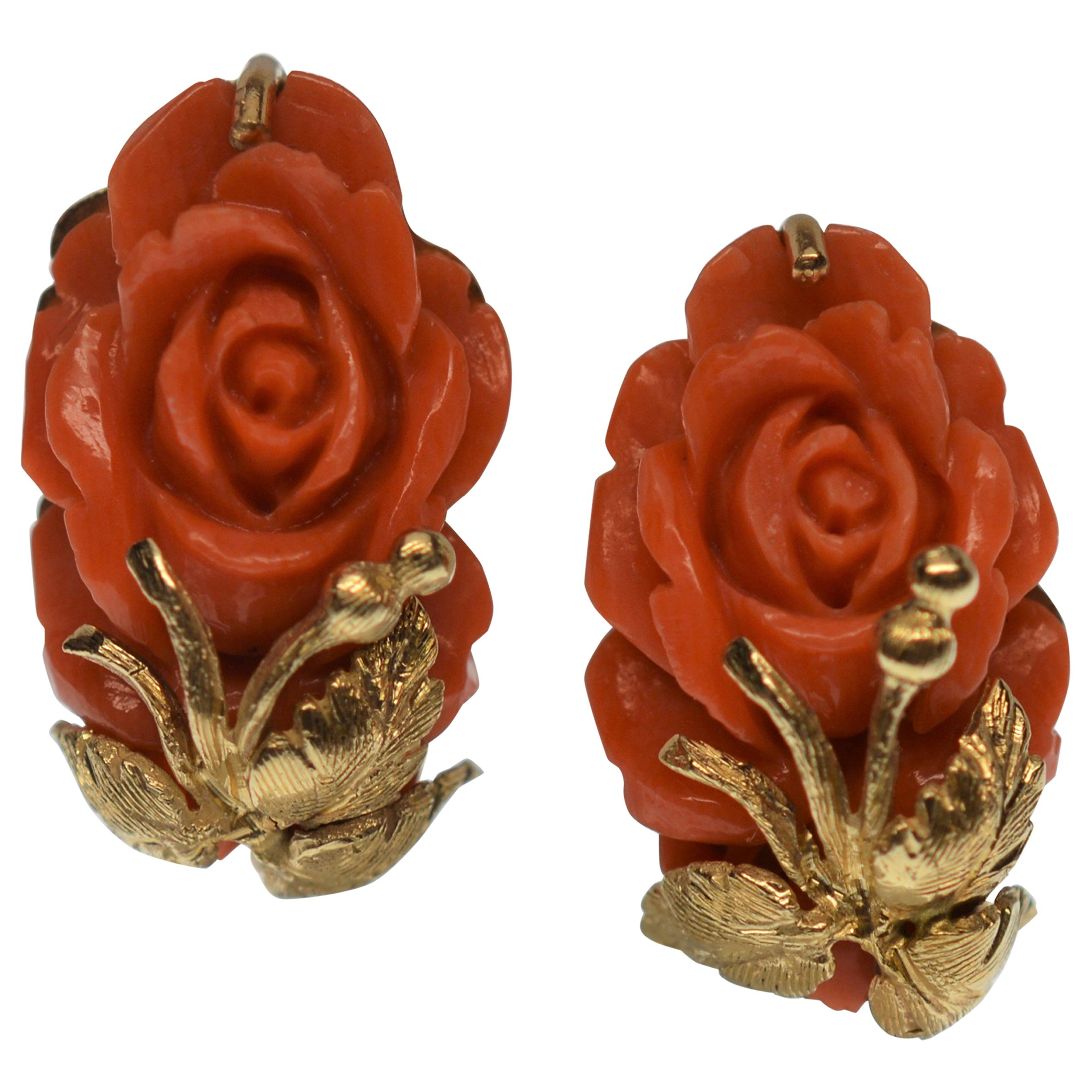 Vintage Carved Natural Coral Rose Yellow Gold Earrings