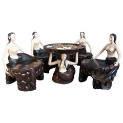 Vintage Carved Nude Figural Mermaid Card Game Table & Chairs Nautical Poker Bali