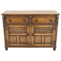 Vintage Carved Oak Sideboard, Buffet, Server, Scotland 1930