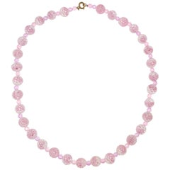 Vintage Carved Pink Art Crystal Bead Neckalce, Brass Clasp