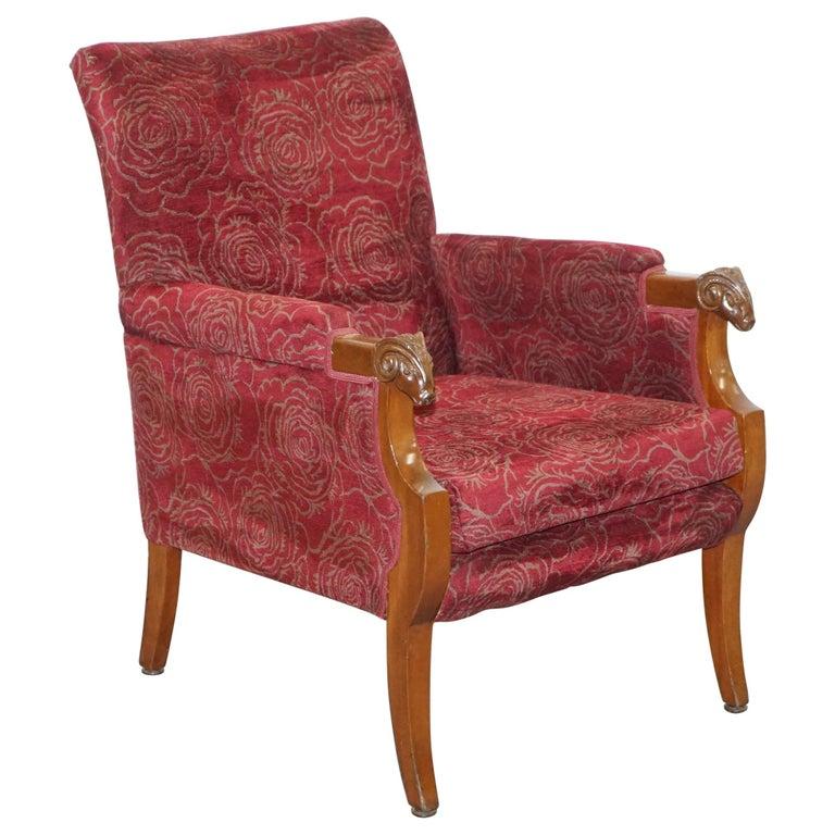 Vintage Carved Rams Head Armchair Vintage Piece Red Floral ...