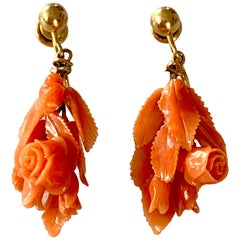 Vintage Carved Salmon Coral Floral 14 Karat Yellow Gold Screw Back Drop Earrings