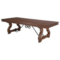 Vintage Carved Spanish Trestle Style Dining Table