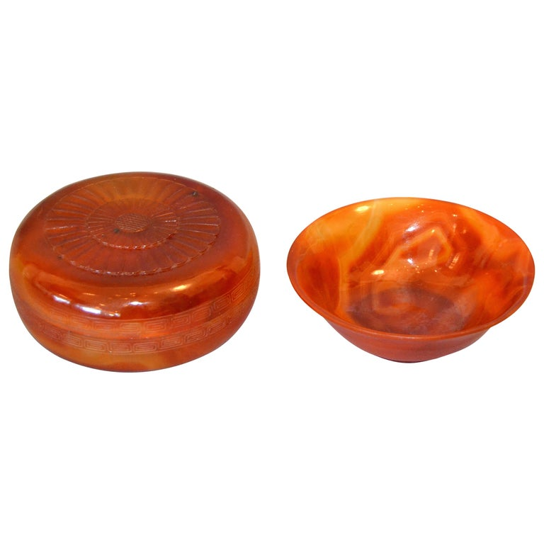 Vintage Carved Stone Agate Box and Bowl in Amber Color, Set For Sale