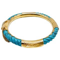 Vintage Carved Turquoise & Etched Gold Bangle 1960s
