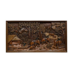 Carved Wall Panel, English, Ironwood, Decorative, Frieze, Jungle, 20th Century