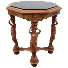 Vintage Carved Walnut and Marble Top Octagon Side Table, circa 1940