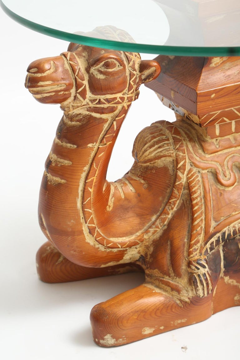 Spanish Vintage Carved Wood Camel Side Table with Glass Top For Sale