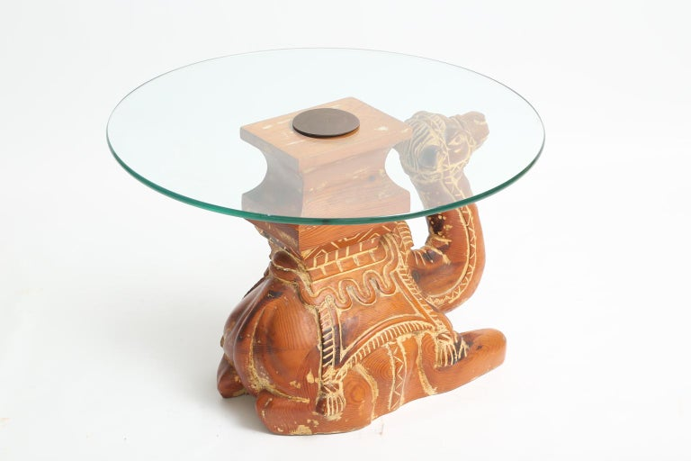Vintage Carved Wood Camel Side Table with Glass Top In Good Condition For Sale In West Palm Beach, FL