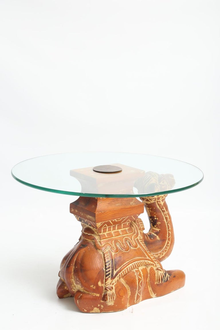 20th Century Vintage Carved Wood Camel Side Table with Glass Top For Sale