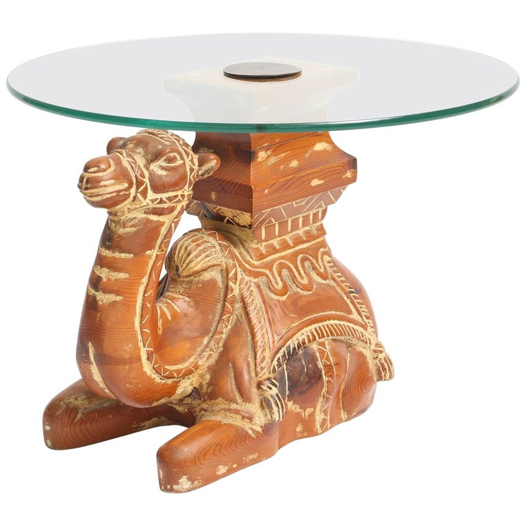 Vintage Carved Wood Camel Side Table with Glass Top For Sale