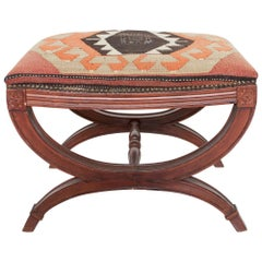 Carved Wood Curule Stool Studded Brass Bench in Handwoven Kilim Vintage