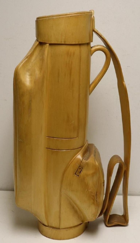 Mid-Century Modern Vintage Carved Wood Decorative Golf Bag For Sale