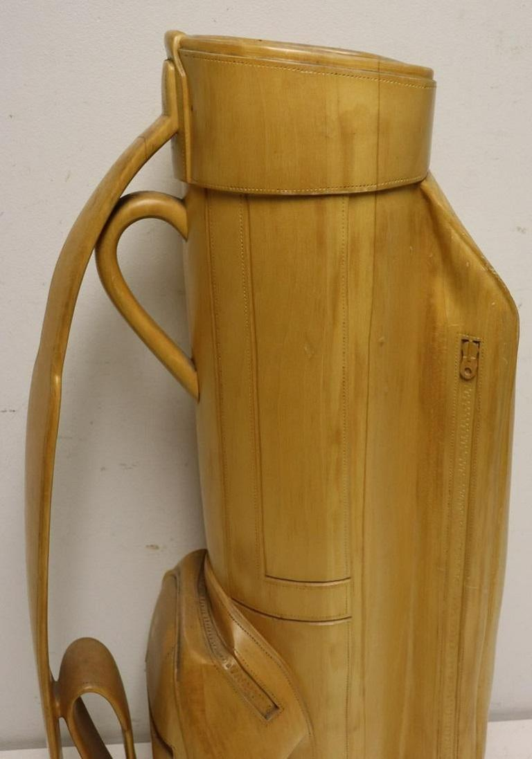 Vintage Carved Wood Decorative Golf Bag In Good Condition For Sale In New York, NY