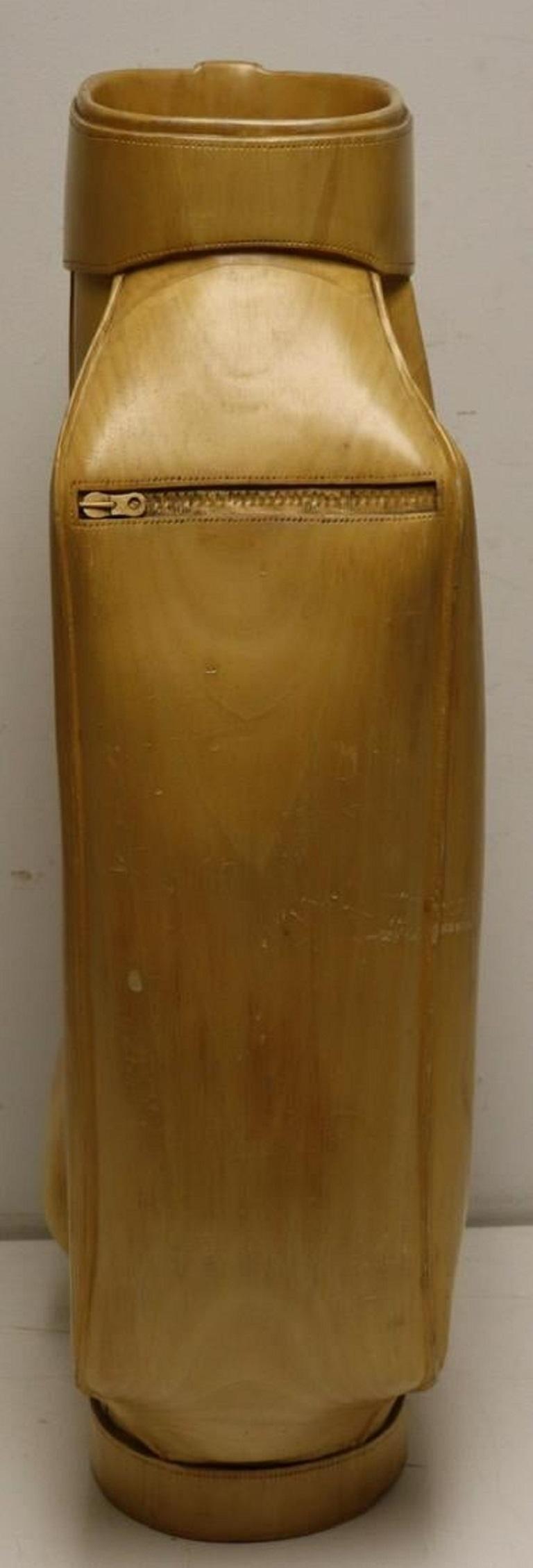 Vintage Carved Wood Decorative Golf Bag For Sale 3