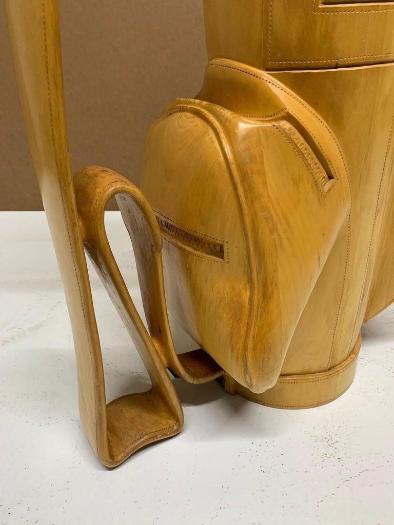 Vintage Carved Wood Decorative Golf Bag For Sale 1