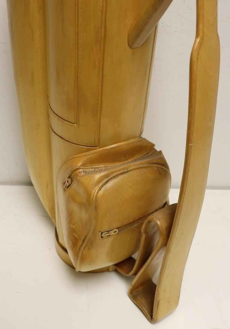 Metal Vintage Carved Wood Decorative Golf Bag For Sale