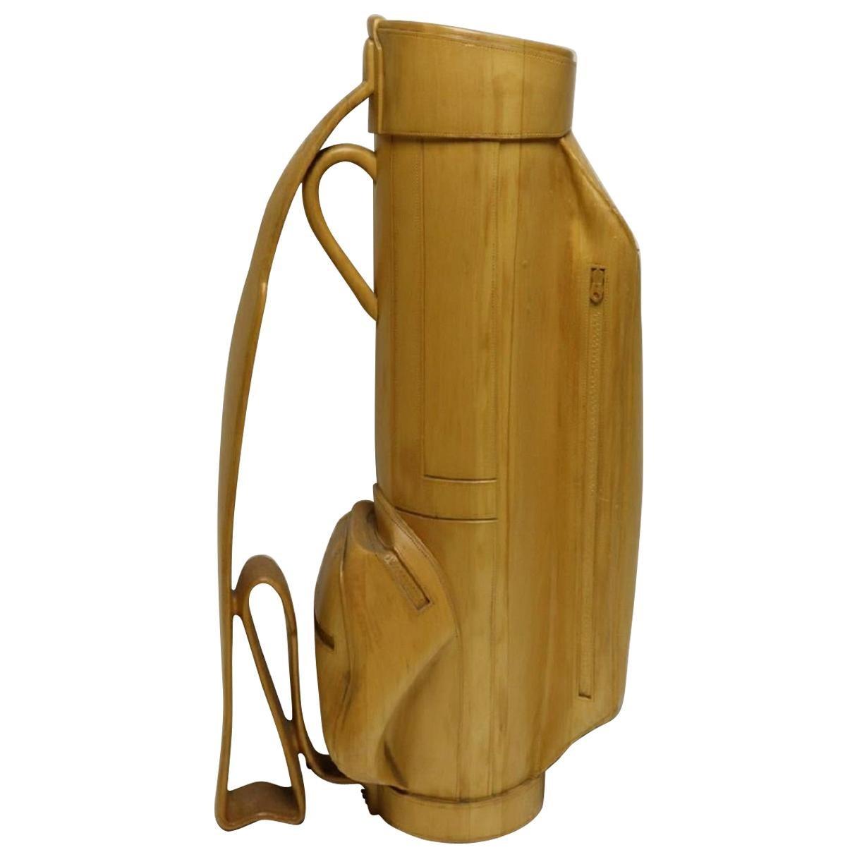 Vintage Carved Wood Decorative Golf Bag