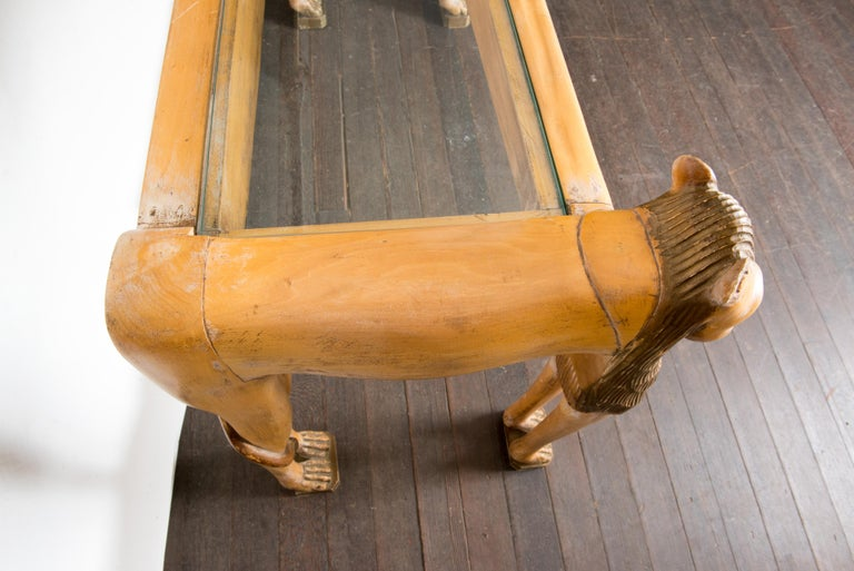 Vintage Carved Wood Egyptian Revival Lion Console Table For Sale 7