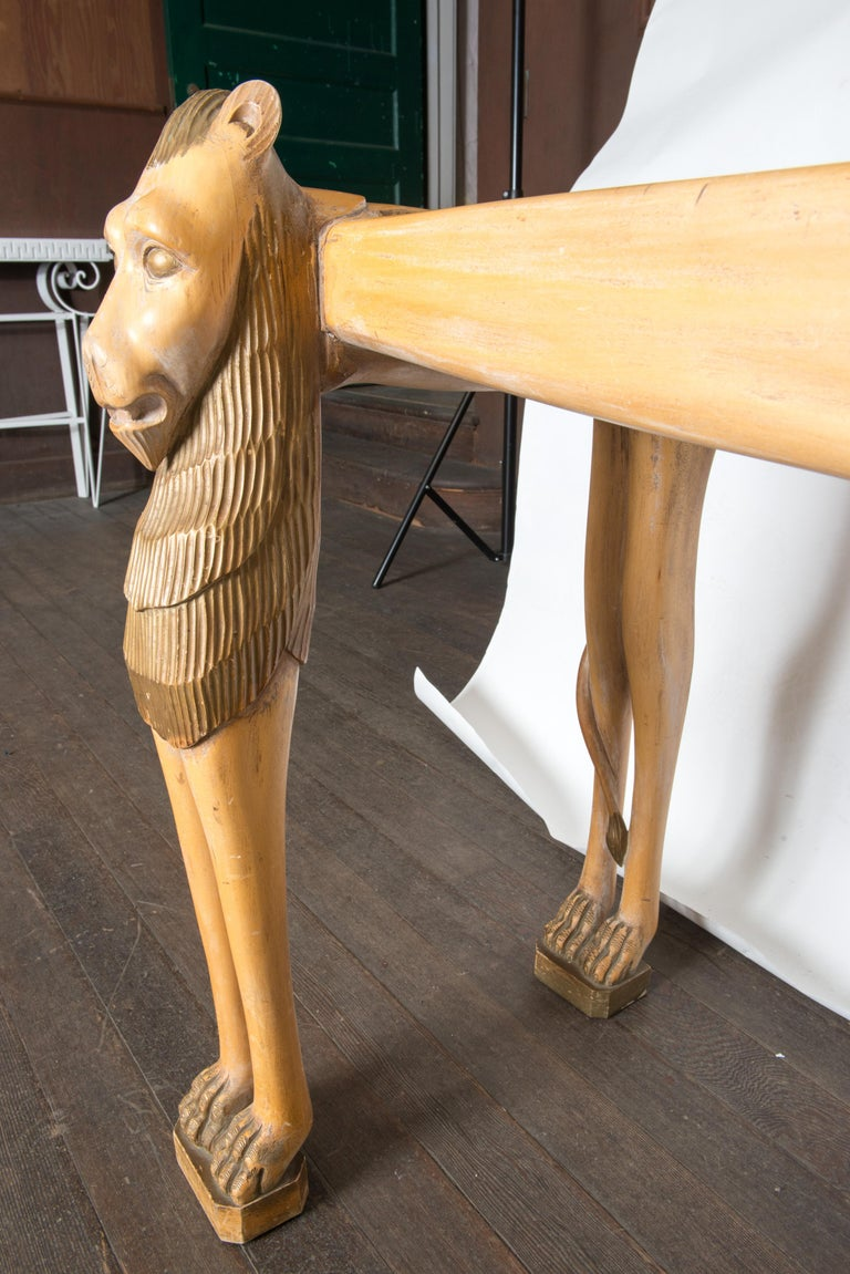 Vintage Carved Wood Egyptian Revival Lion Console Table For Sale 13