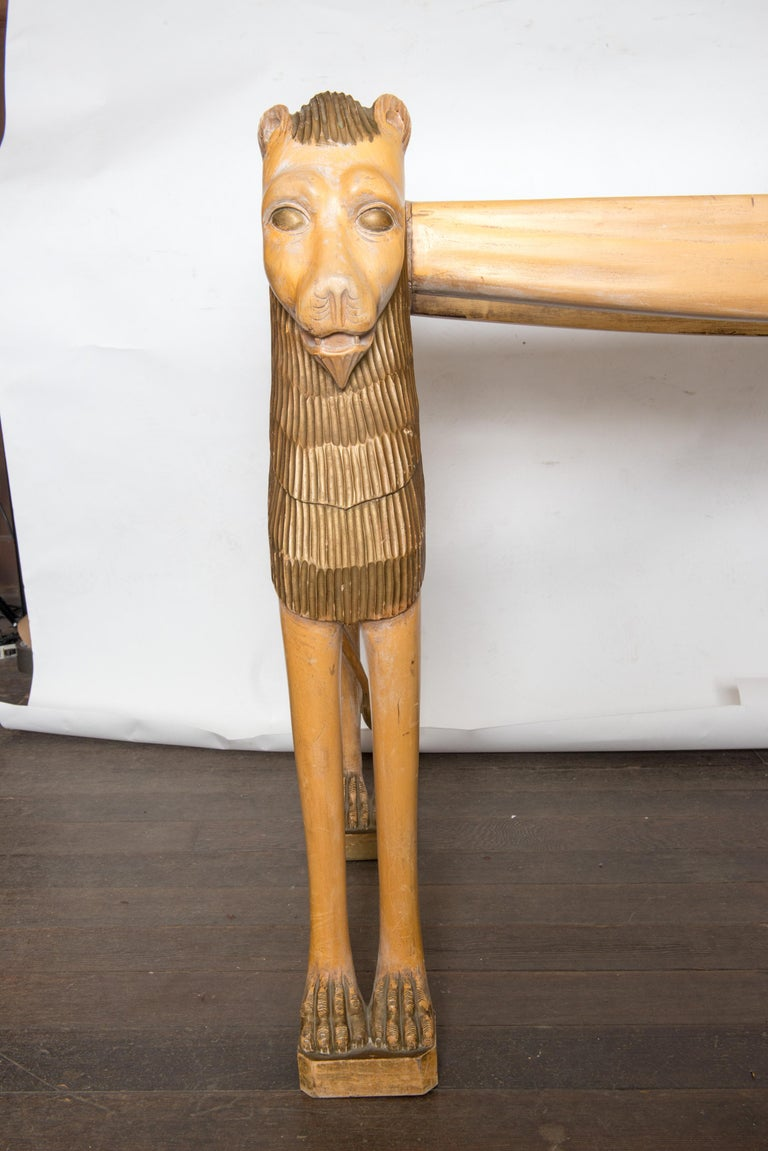 Vintage Carved Wood Egyptian Revival Lion Console Table In Good Condition For Sale In Stamford, CT