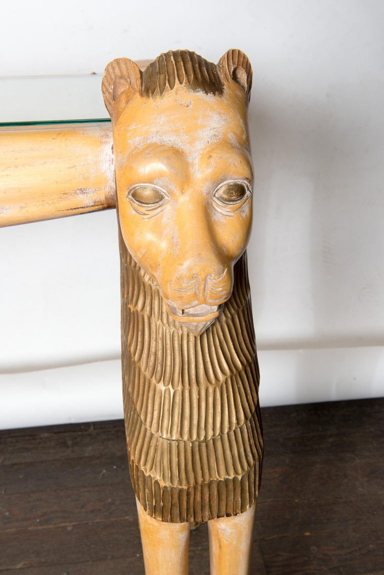 Vintage Carved Wood Egyptian Revival Lion Console Table For Sale 2