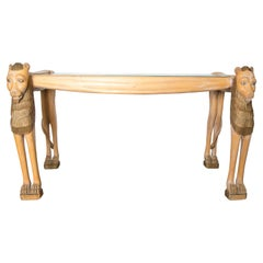 Vintage Carved Wood Egyptian Revival Lion Console Table