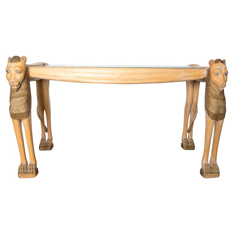 Vintage Carved Wood Egyptian Revival Lion Console Table For Sale