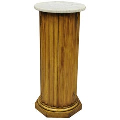 Vintage Carved Wood Fluted Pedestal Plant Stand Cabinet with Round Marble Top