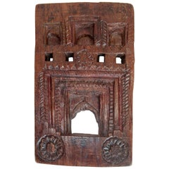 Vintage Carved Wood Picture Frame, Mid-20th Century, India