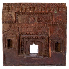 Vintage Carved Wood Votive or Picture Frame, Mid-20th Century, India