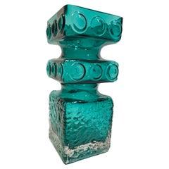 Vintage Cased Green and Clear Riimihaki Vase, Tamara Aladin