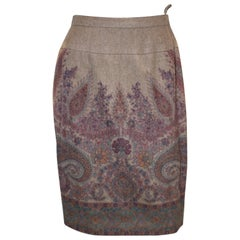 Vintage Cashmere Skirt with Paisley Design