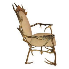 Vintage Cast Aluminum Antler Chair by Arthur Court, circa 1970s
