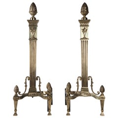 Vintage Cast Brass Neoclassical Andirons with Pinecone Finials, circa 1900