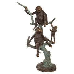 Vintage Cast Bronze Sculpted Group of Three Monkeys Sitting in a Verdigris Tree
