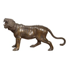 Vintage Cast Bronze Statue of a Roaring Tiger with Textured Finish