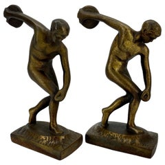 Vintage Cast Iron and Bronzed Overlay Bookends of Male Discus Thrower