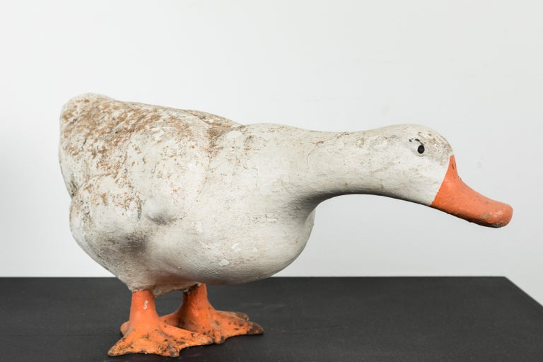 Painted Vintage Cast Iron and Concrete Garden Duck For Sale