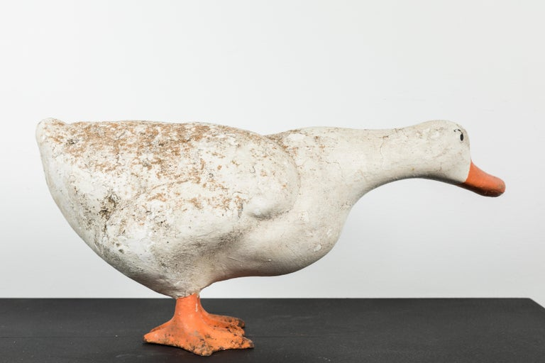 Vintage Cast Iron and Concrete Garden Duck In Good Condition For Sale In Santa Monica, CA