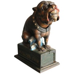 Vintage Cast Iron Book of Knowledge Bull Dog Mechanical Bank, 20th Century
