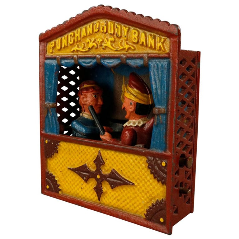 Vintage Cast Iron Book of Knowledge Mechanical Bank, Punch & Judy, 20th Century For Sale