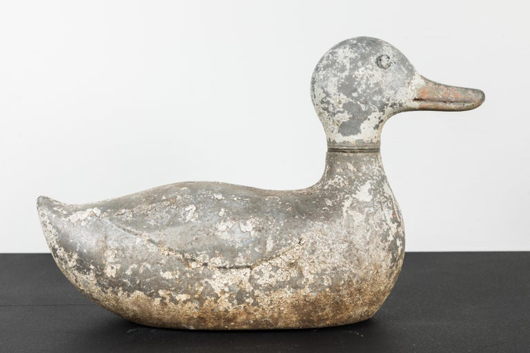 Vintage Cast Iron Duck Sprinkler White Paint In Good Condition In Santa Monica, CA