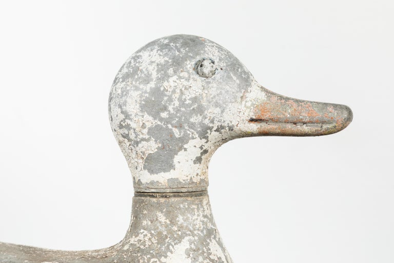 Mid-20th Century Vintage Cast Iron Duck Sprinkler White Paint