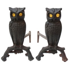 Vintage Cast Iron Owl Andirons with Amber Glass Eyes