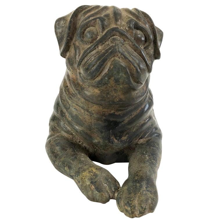 Vintage Cast Iron Pug Dog Sculpture