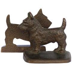 """Vintage Cast Iron """"Scottie"""" Dog Bookends, a Pair"""