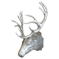 Vintage Cast Metal Trophy Stag Head Wall Mount