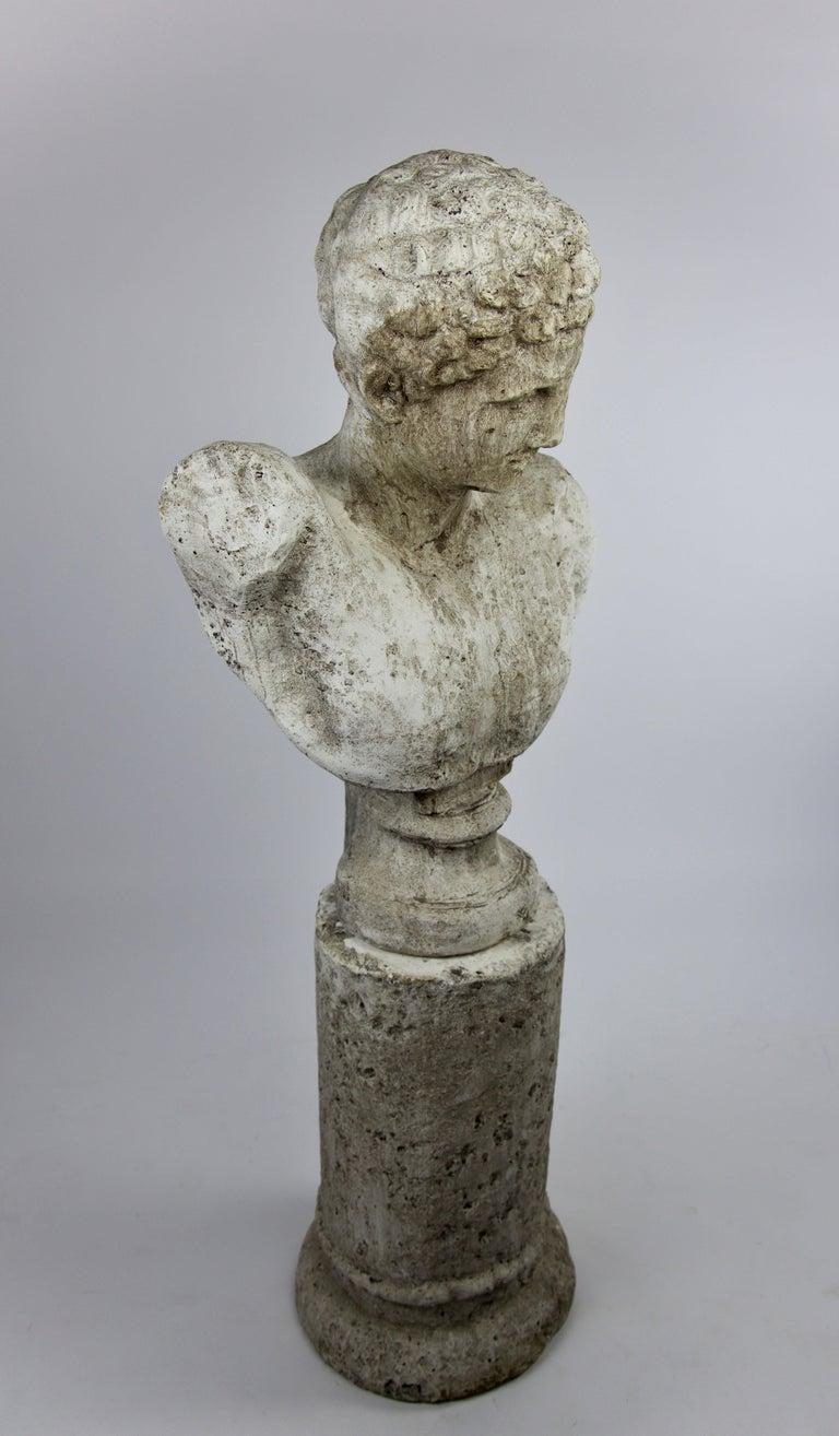 Classical Roman Vintage Cast Stone Bust of Hermes on Cast Stone Pedestal For Sale